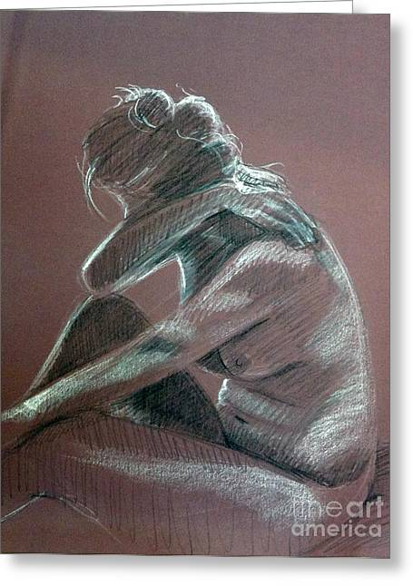 Seated Woman Side Light Greeting Card