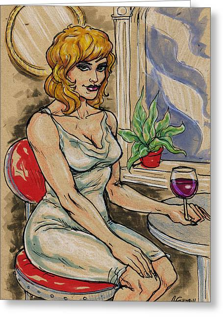 Seated Woman With Wine Greeting Card