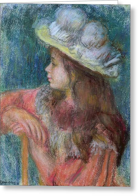 Seated Young Girl In A White Hat Greeting Card by Pierre Auguste Renoir
