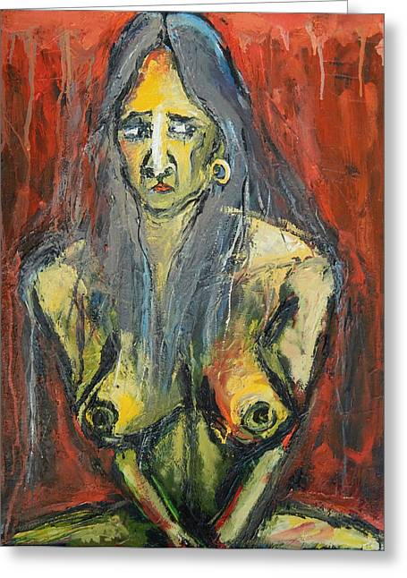Seated Young Woman On A Stool Greeting Card by Kenneth Agnello