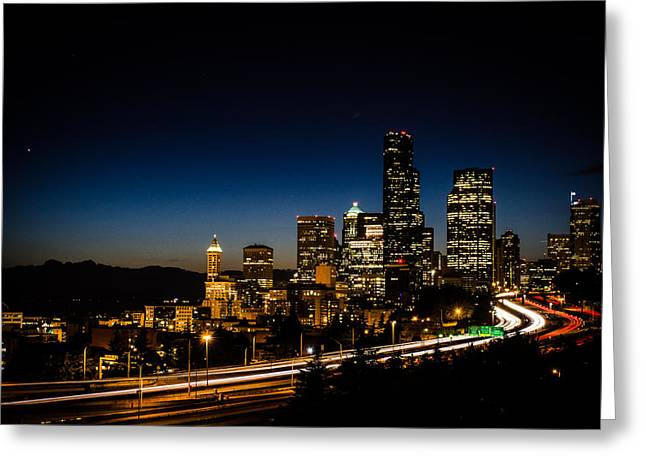 Seattle At Night Greeting Card by Brian Xavier