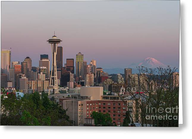 Seattle Sunset Greeting Card