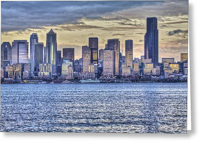 Seattle At Twilight From Alki Beach Greeting Card