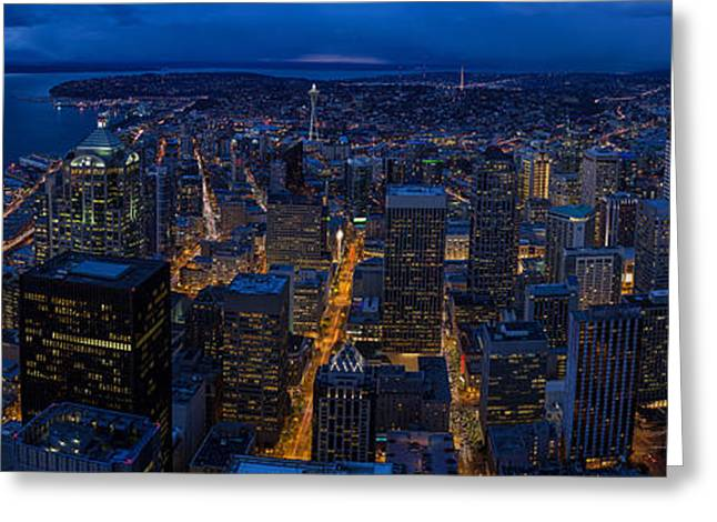 Seattle Christmas Greeting Card by Mike Reid