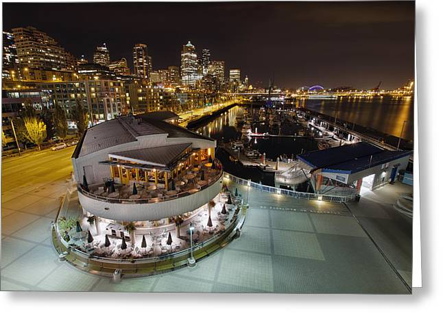 Greeting Card featuring the photograph Seattle City Skyline And Marina At Night by JPLDesigns