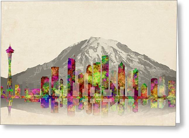 Seattle City Skyline Greeting Card by Daniel Hagerman