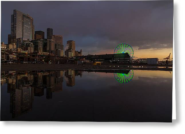 Seattle Cityscape And The Wheel Greeting Card by Mike Reid
