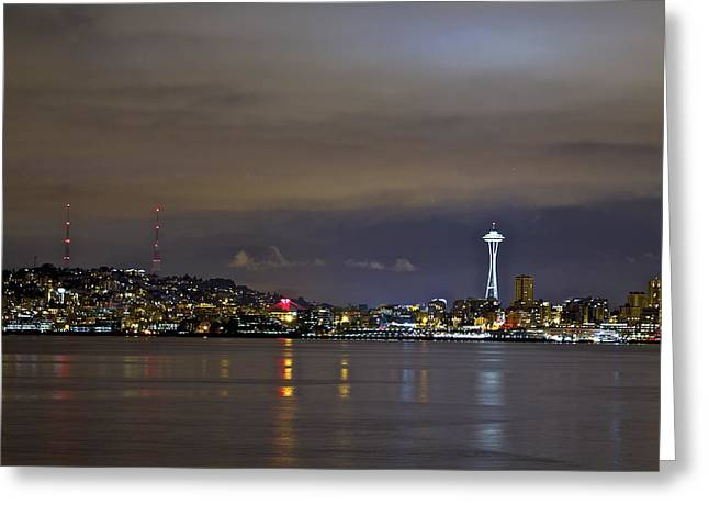 Seattle Cityscape At Night Greeting Card