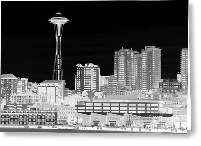 Greeting Card featuring the photograph Seattle Cityscape - Bw Negative by Connie Fox