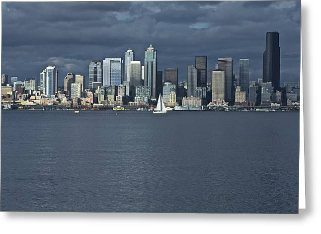 Seattle Cityscape From Alki Beach Greeting Card