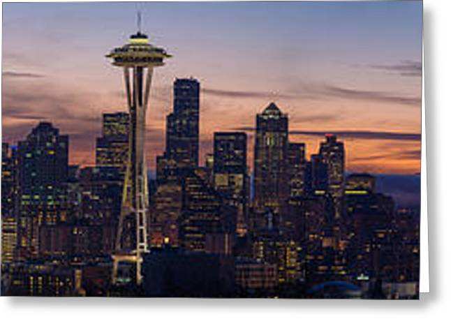 Seattle Cityscape Morning Light Greeting Card by Mike Reid