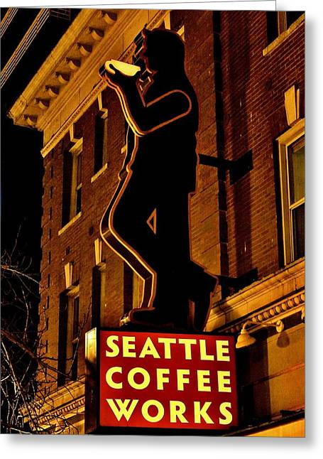 Seattle Coffee Works Greeting Card by Benjamin Yeager