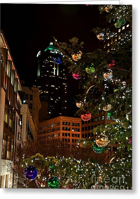 Greeting Card featuring the photograph Seattle Downtown Christmas Time Art Prints by Valerie Garner