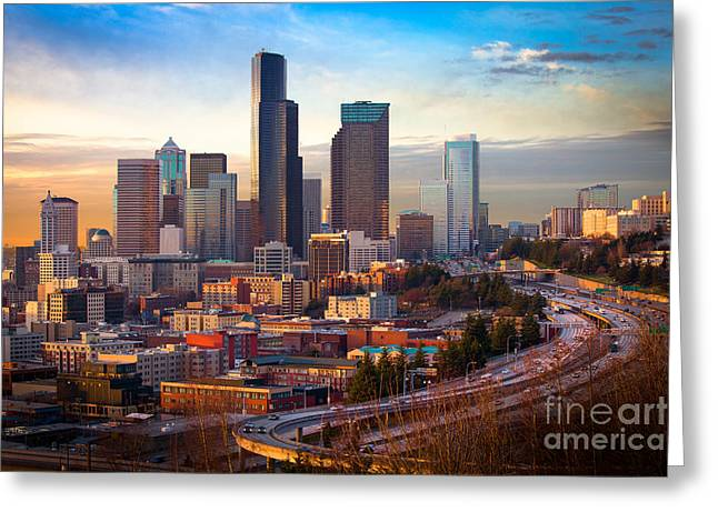 Seattle Downtown Dusk Greeting Card by Inge Johnsson