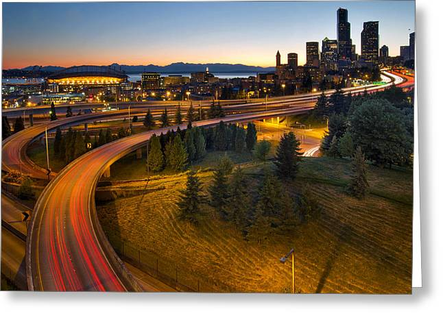 Greeting Card featuring the photograph Seattle Downtown Highway Traffic Light Trails by JPLDesigns