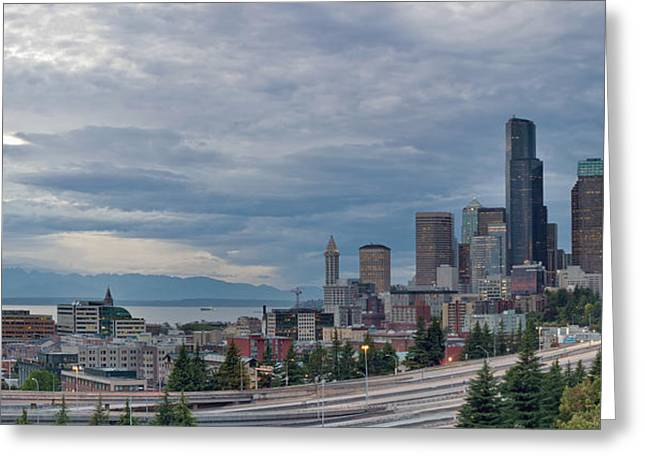 Greeting Card featuring the photograph Seattle Downtown Skyline And Freeway Panorama by JPLDesigns