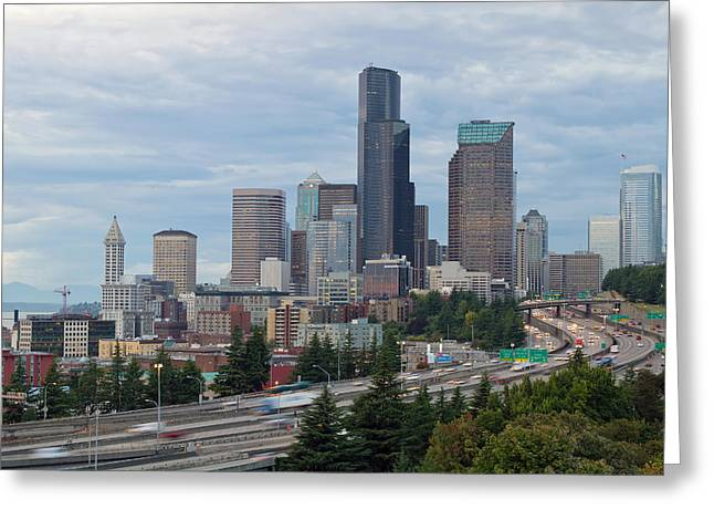 Greeting Card featuring the photograph Seattle Downtown Skyline On A Cloudy Day by JPLDesigns