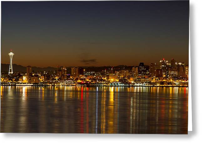Greeting Card featuring the photograph Seattle Downtown Skyline Reflection At Dawn by JPLDesigns