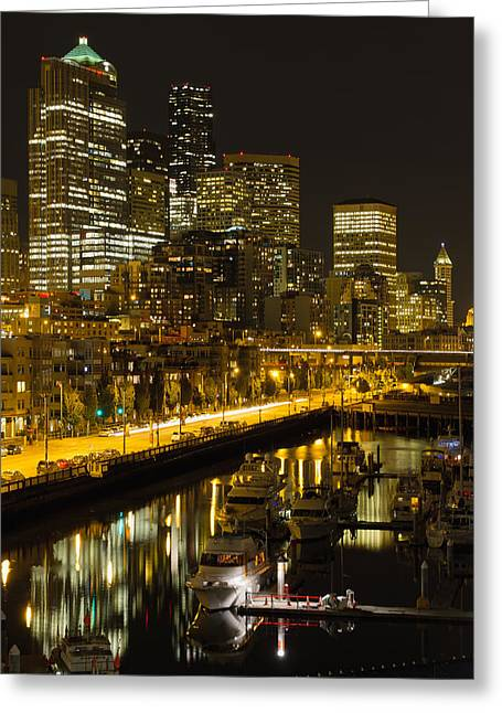 Greeting Card featuring the photograph Seattle Downtown Waterfront Skyline At Night by JPLDesigns