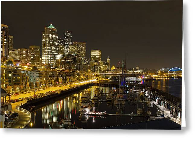 Greeting Card featuring the photograph Seattle Downtown Waterfront Skyline At Night Reflection by JPLDesigns