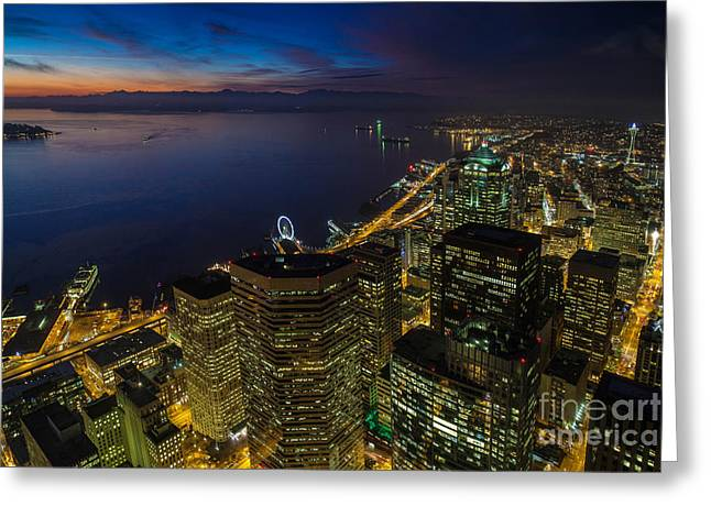 Seattle Dusk Colors Greeting Card by Mike Reid