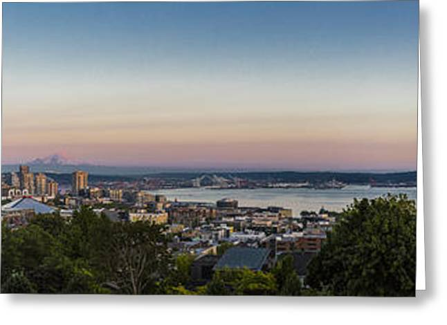 Seattle Elliot Bay Panorama Huge Greeting Card by Scott Campbell