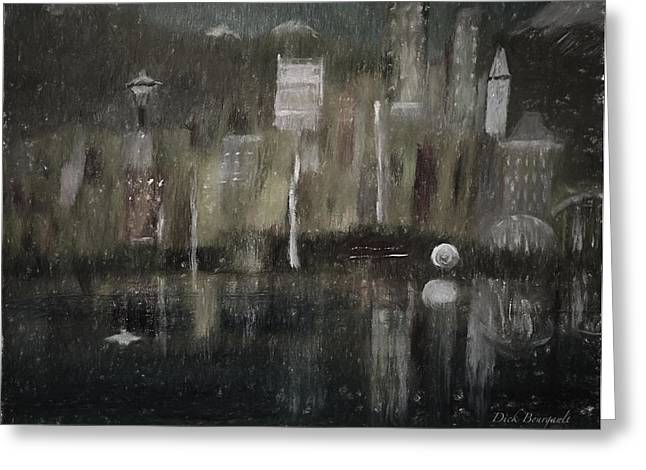 Seattle In The Rain Cityscape Greeting Card