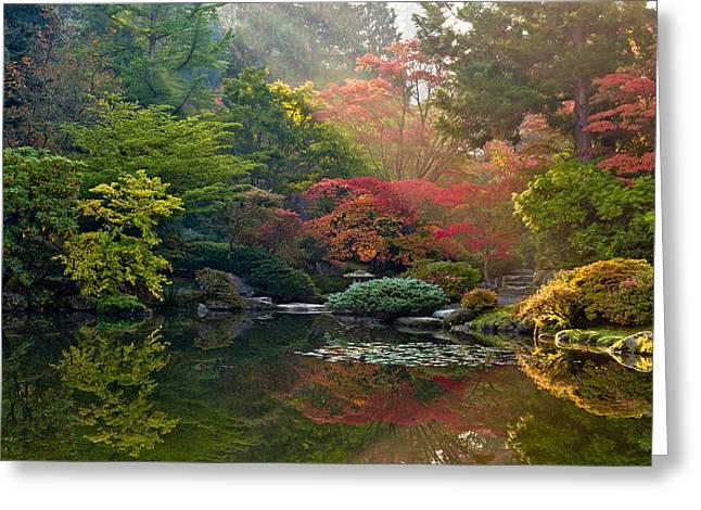 Seattle Japanese Garden Light Greeting Card by Thorsten Scheuermann
