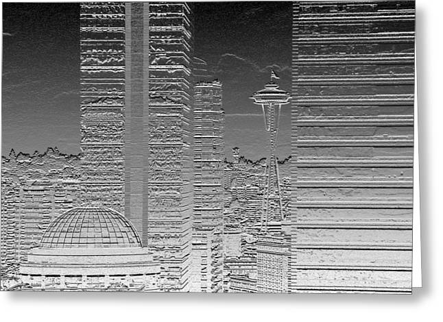 Seattle Landscape Chrome Greeting Card by Brad Walters