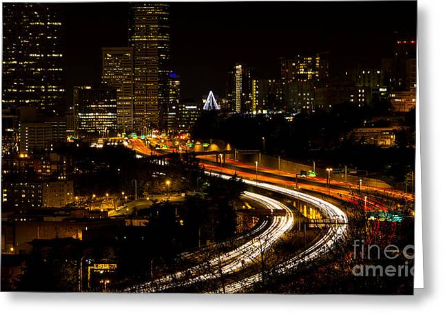 Seattle Light Trails Greeting Card