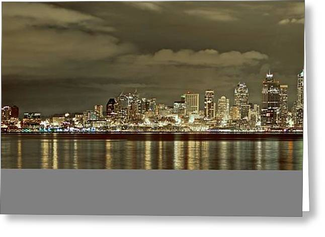 Seattle Lights At Night From Alki Greeting Card