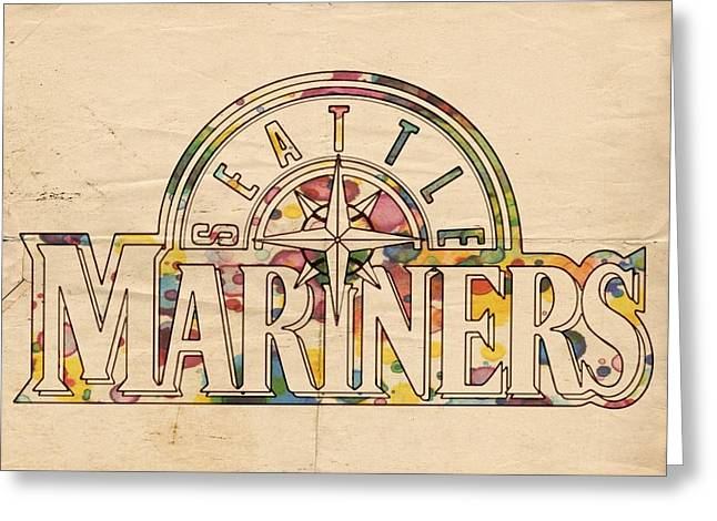 Seattle Mariners Poster Art Greeting Card by Florian Rodarte