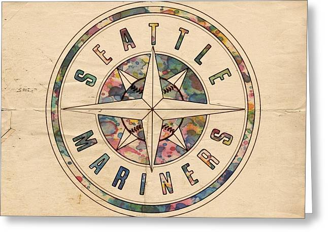 Seattle Mariners Poster Vintage Greeting Card by Florian Rodarte