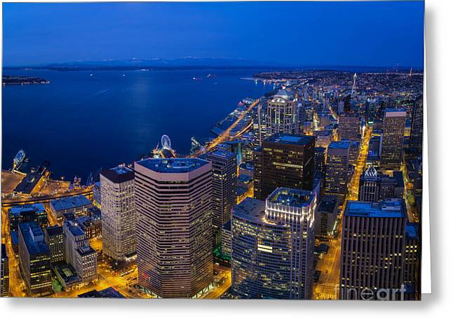 Seattle Moonset Night Greeting Card by Mike Reid