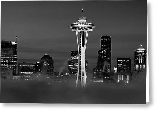 Seattle Morning Mist Black And White Greeting Card by Benjamin Yeager
