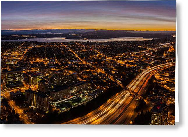 Seattle Morning View East Greeting Card by Mike Reid