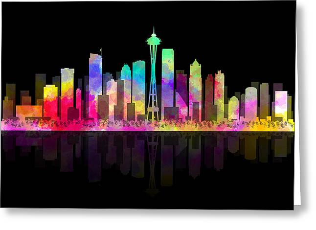 Seattle Nights Greeting Card by Daniel Hagerman