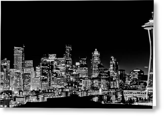 Seattle Nightscape Greeting Card by DMValdez Photography