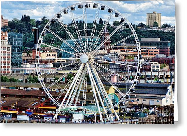 Seattle Port Ferris Wheel Greeting Card