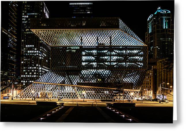 Seattle Public Library At Night Greeting Card by Brian Xavier