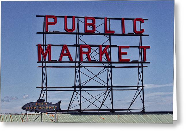 Seattle Public Market Greeting Card by Ron Roberts