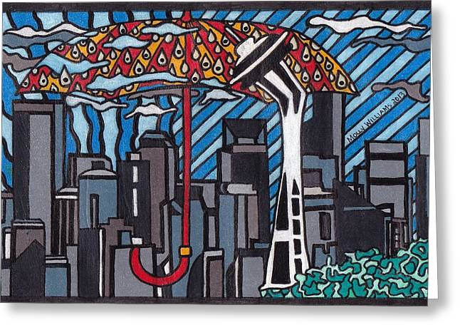 Seattle Rain Greeting Card by Molly Williams