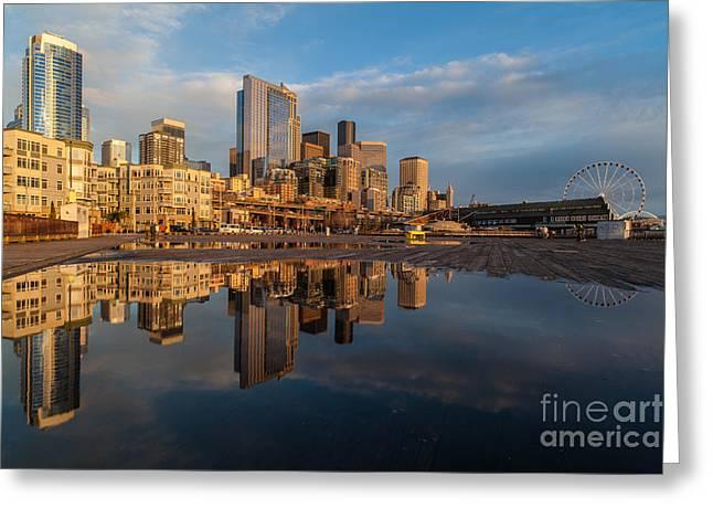 Seattle Reflection Golden Light Greeting Card