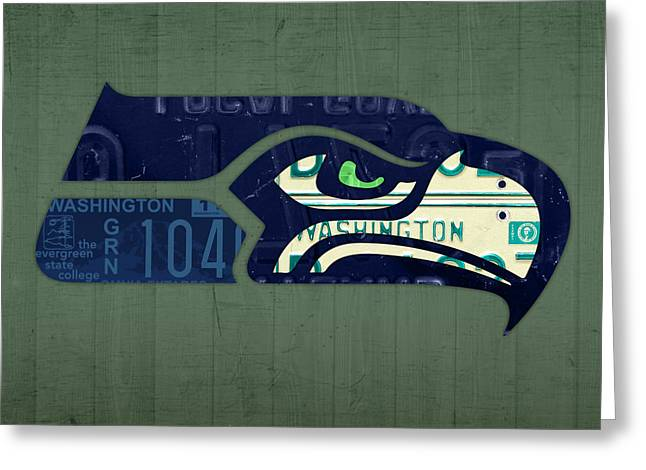 Seattle Seahawks Football Team Retro Logo Washington State License Plate Art Greeting Card by Design Turnpike