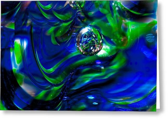 Seattle Seahawks Glass Macro Abstract Greeting Card by David Patterson