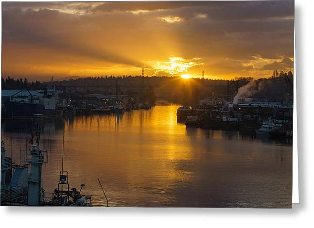 Seattle Ship Canal Sunstar Morning Greeting Card