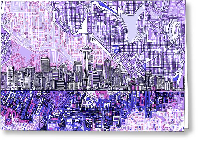 Seattle Skyline Abstract 3 Greeting Card