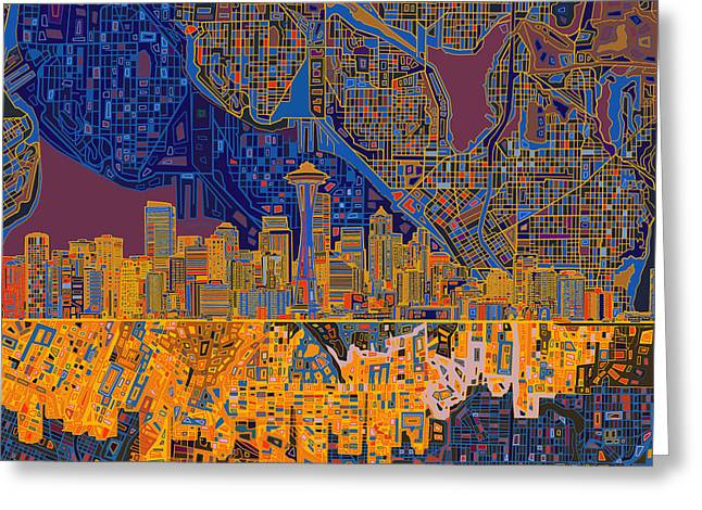 Seattle Skyline Abstract 4 Greeting Card