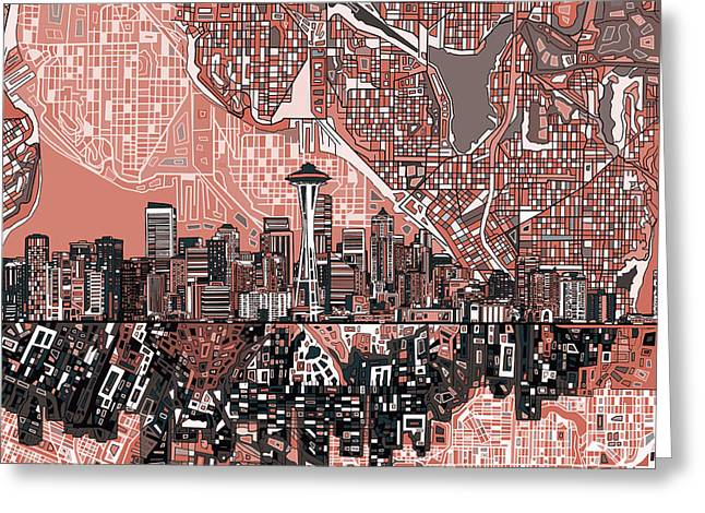 Seattle Skyline Abstract 5 Greeting Card