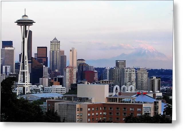 Seattle Skyline Afternoon Greeting Card by Jack Nevitt